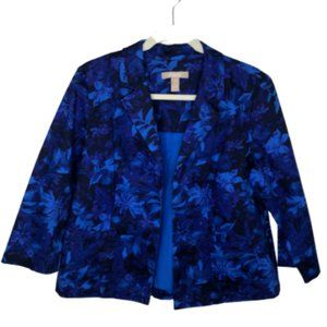 Chicos Floral Open Front Blazer Collared Coat